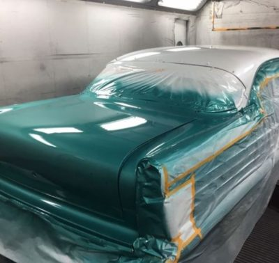 Green paint job on classic car